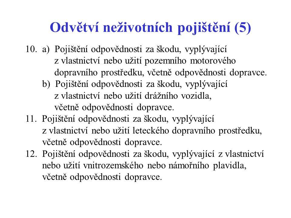 Odvětví neživotních pojištění (5)