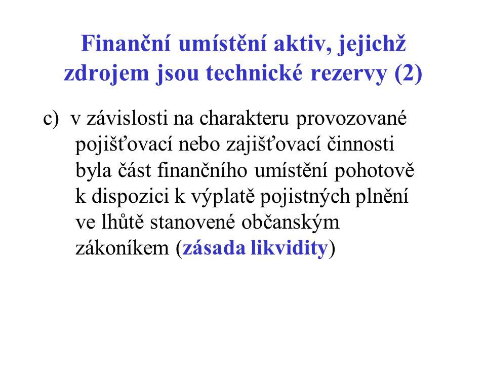 Finanční umístění aktiv, jejichž zdrojem jsou technické rezervy (2)