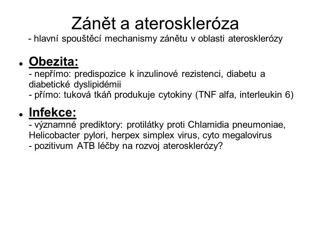 Zánět a ateroskleróza - hlavní spouštěcí mechanismy zánětu v oblasti aterosklerózy