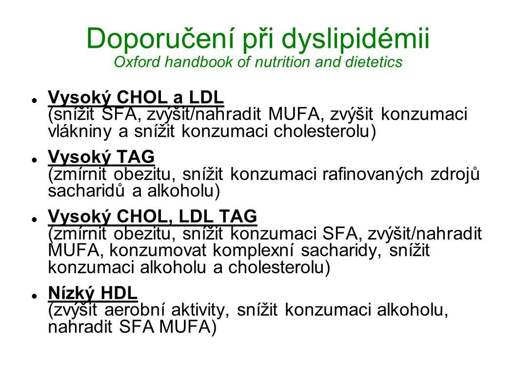 Doporučení při dyslipidémii Oxford handbook of nutrition and dietetics