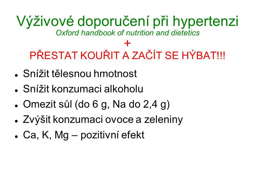 Výživové doporučení při hypertenzi Oxford handbook of nutrition and dietetics + PŘESTAT KOUŘIT A ZAČÍT SE HÝBAT!!!