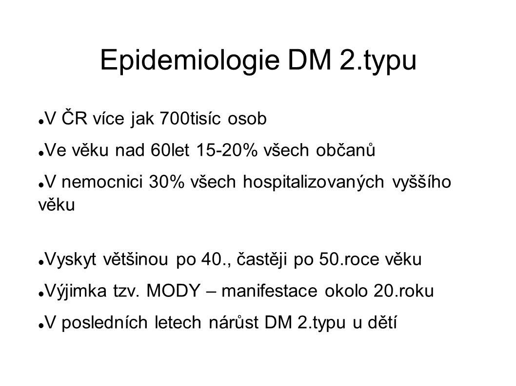 Epidemiologie DM 2.typu V ČR více jak 700tisíc osob