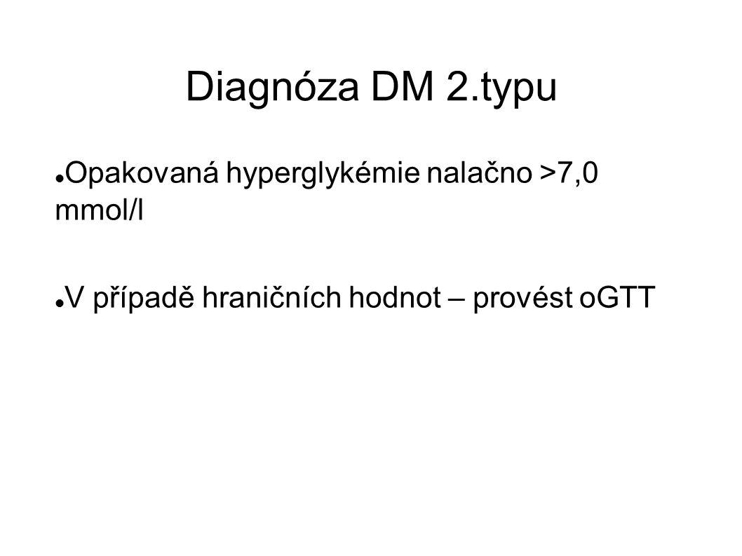 Diagnóza DM 2.typu Opakovaná hyperglykémie nalačno >7,0 mmol/l