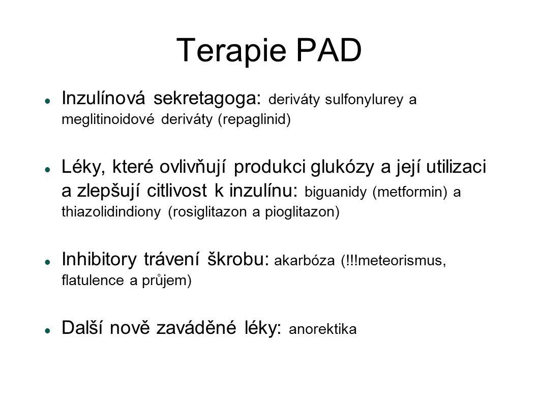 Terapie PAD Inzulínová sekretagoga: deriváty sulfonylurey a meglitinoidové deriváty (repaglinid)