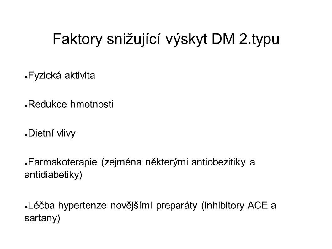 Faktory snižující výskyt DM 2.typu