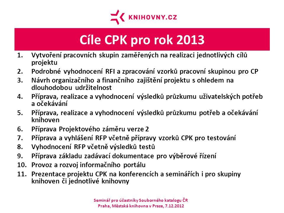 Cíle CPK pro rok 2013 Vytvoření pracovních skupin zaměřených na realizaci jednotlivých cílů projektu.