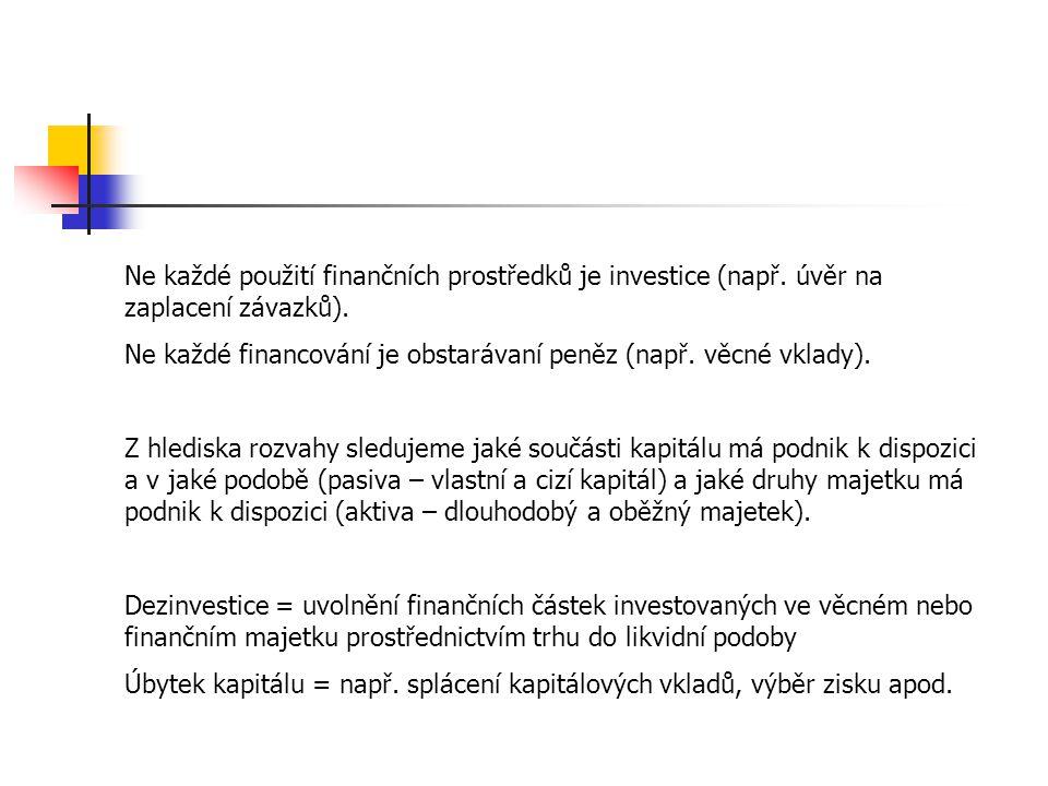 Ne každé použití finančních prostředků je investice (např