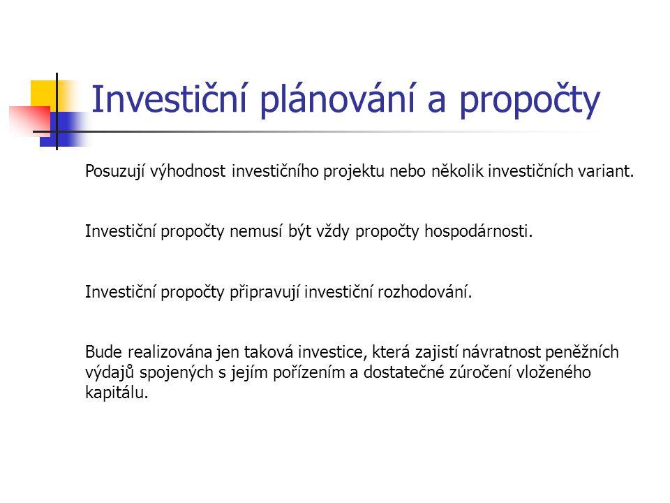 Investiční plánování a propočty
