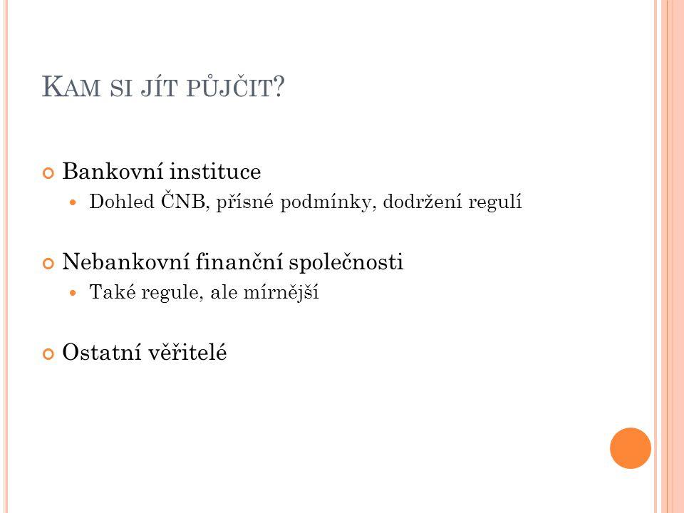 Kam si jít půjčit Bankovní instituce Nebankovní finanční společnosti