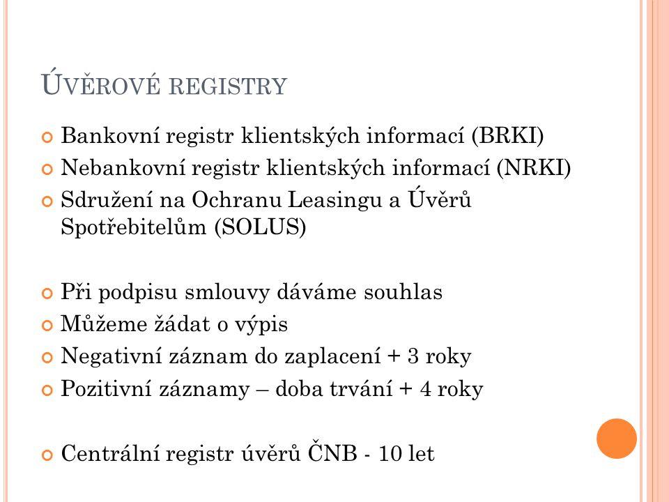Úvěrové registry Bankovní registr klientských informací (BRKI)
