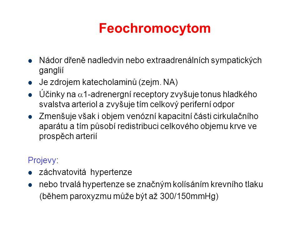 Feochromocytom Nádor dřeně nadledvin nebo extraadrenálních sympatických ganglií. Je zdrojem katecholaminů (zejm. NA)