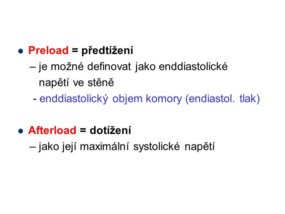 Preload = předtížení – je možné definovat jako enddiastolické. napětí ve stěně. - enddiastolický objem komory (endiastol. tlak)