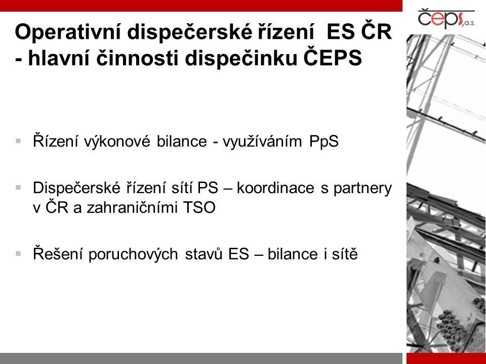 Operativní dispečerské řízení ES ČR - hlavní činnosti dispečinku ČEPS