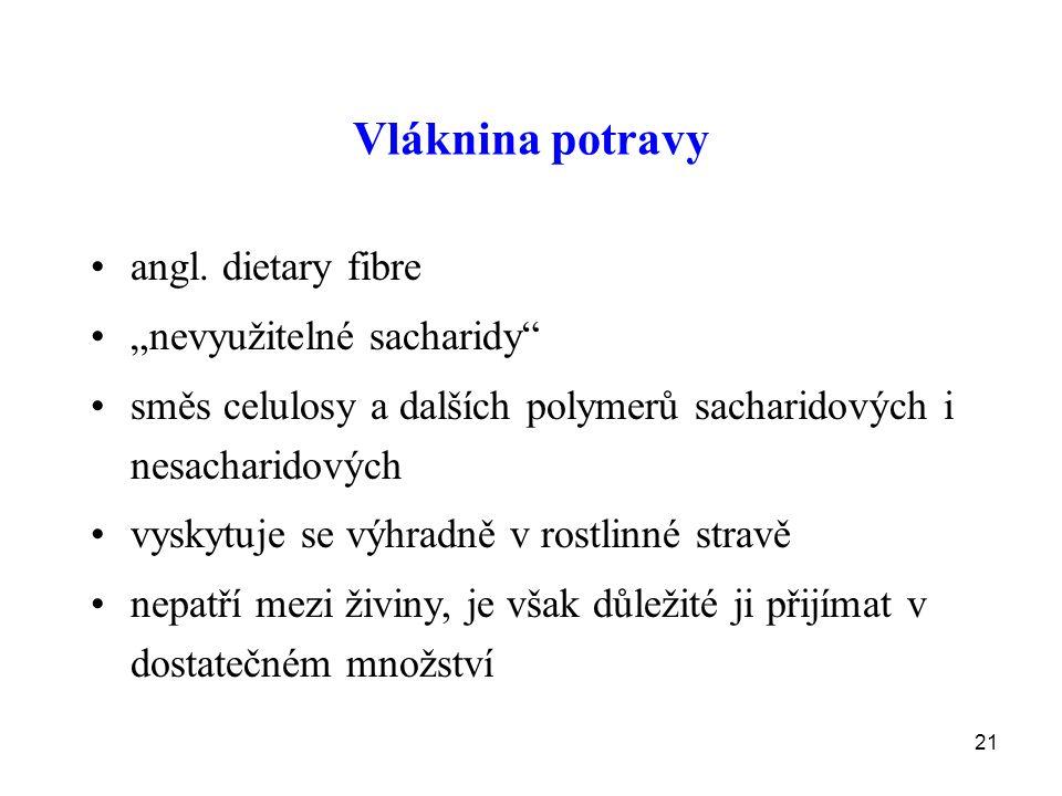 "Vláknina potravy angl. dietary fibre ""nevyužitelné sacharidy"