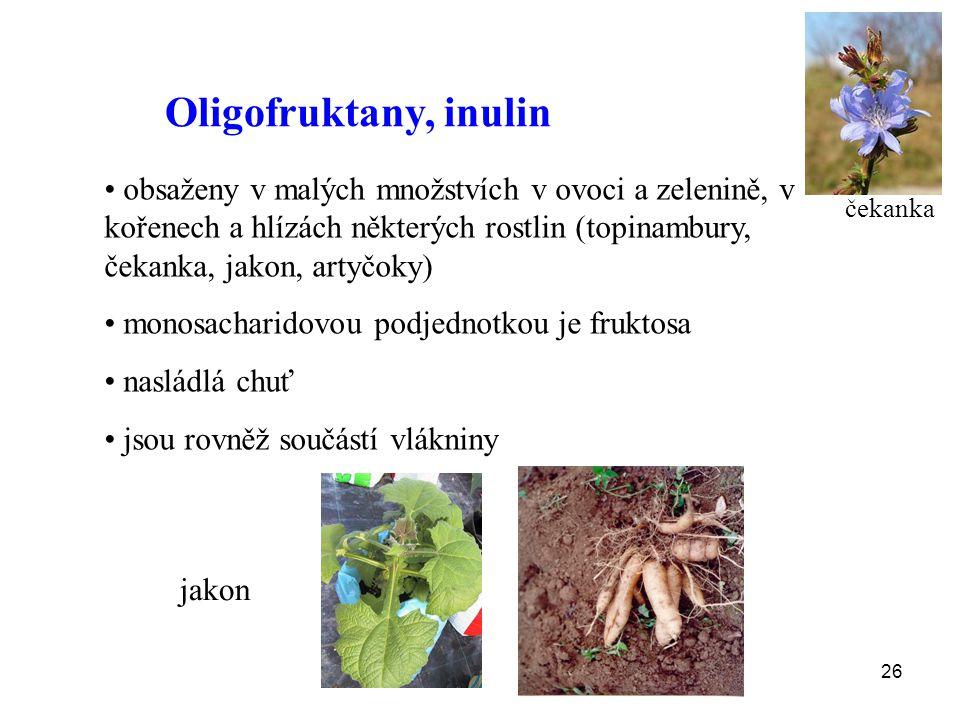 Oligofruktany, inulin obsaženy v malých množstvích v ovoci a zelenině, v kořenech a hlízách některých rostlin (topinambury, čekanka, jakon, artyčoky)