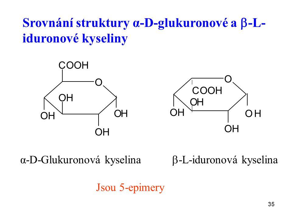 Srovnání struktury α-D-glukuronové a -L-iduronové kyseliny