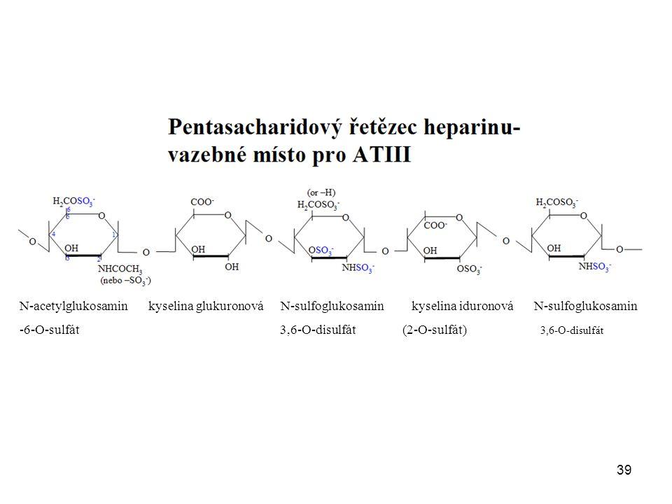 N-acetylglukosamin kyselina glukuronová N-sulfoglukosamin kyselina iduronová N-sulfoglukosamin