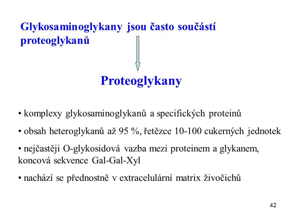 Proteoglykany Glykosaminoglykany jsou často součástí proteoglykanů
