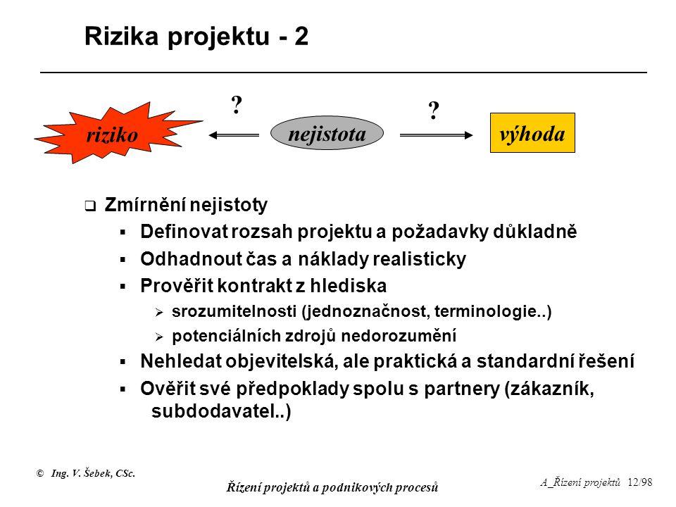 Rizika projektu - 2 riziko nejistota výhoda Zmírnění nejistoty