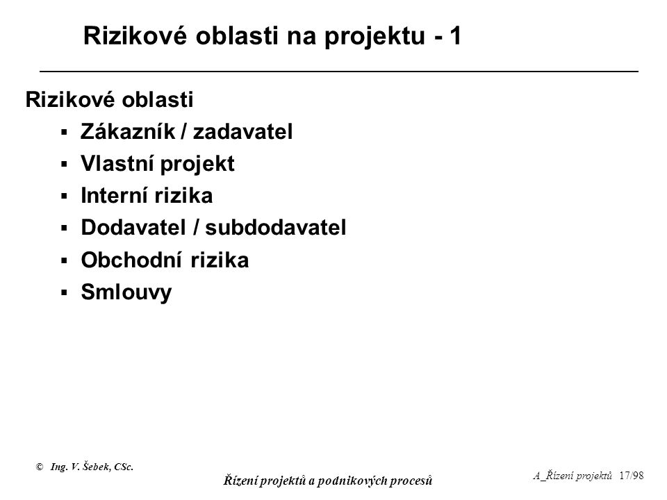 Rizikové oblasti na projektu - 1