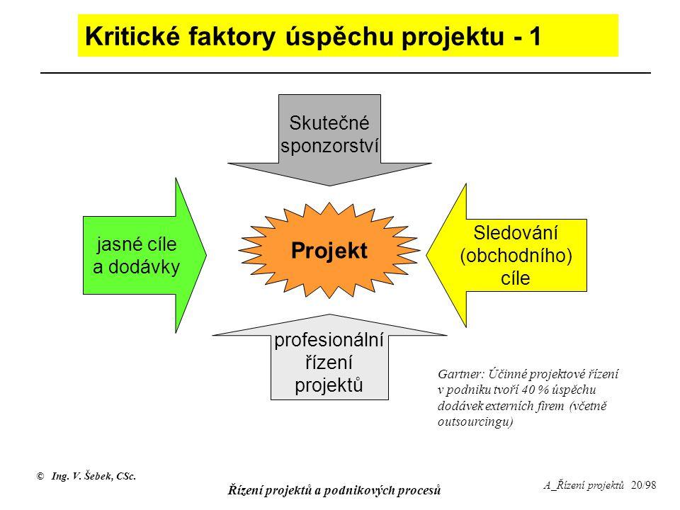 Kritické faktory úspěchu projektu - 1