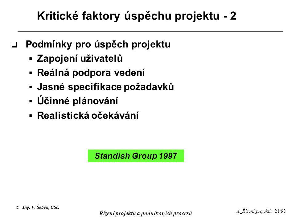 Kritické faktory úspěchu projektu - 2