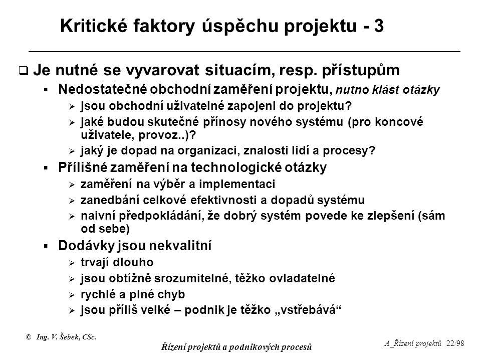 Kritické faktory úspěchu projektu - 3