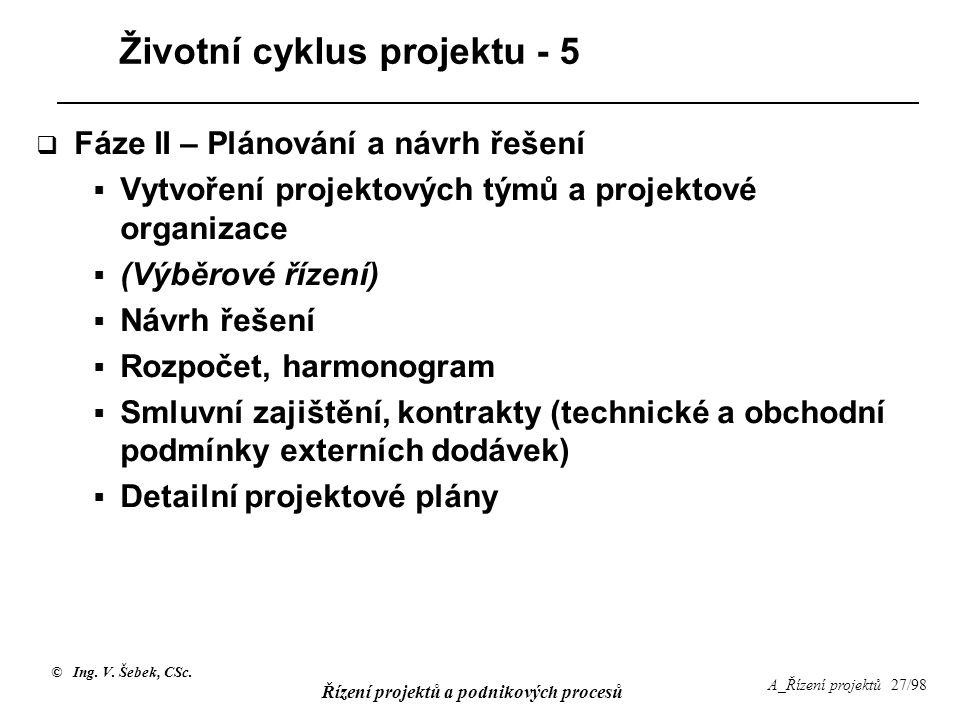 Životní cyklus projektu - 5