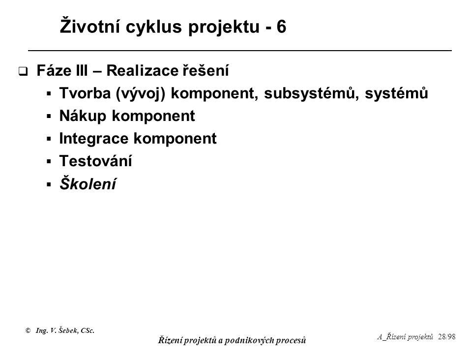 Životní cyklus projektu - 6