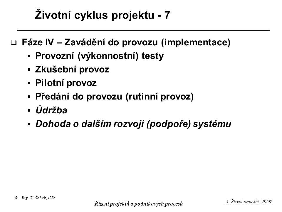 Životní cyklus projektu - 7