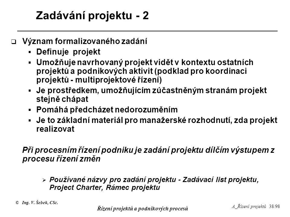 Zadávání projektu - 2 Význam formalizovaného zadání Definuje projekt
