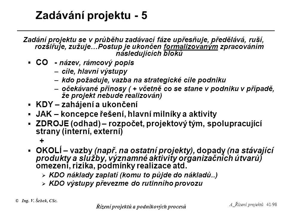 Zadávání projektu - 5 CO - název, rámcový popis
