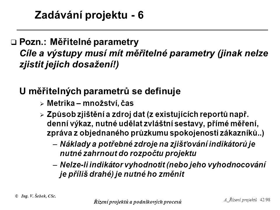 Zadávání projektu - 6 Pozn.: Měřitelné parametry Cíle a výstupy musí mít měřitelné parametry (jinak nelze zjistit jejich dosažení!)
