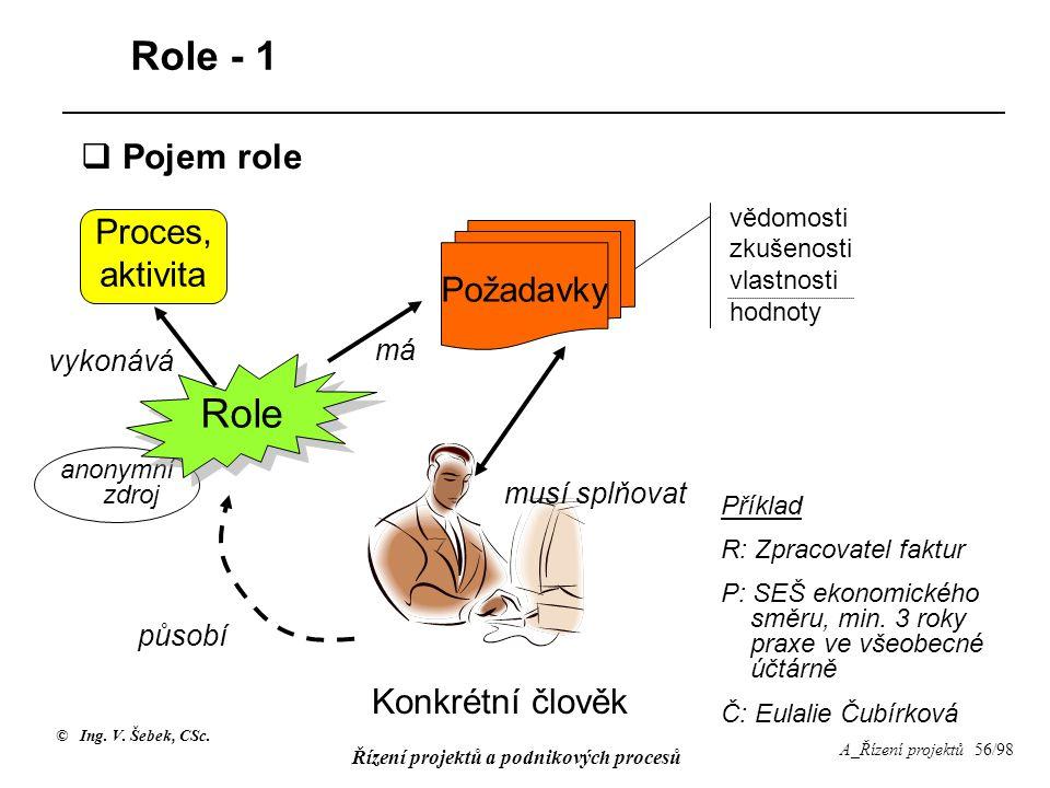 Role - 1 Role Pojem role Proces, aktivita Požadavky Konkrétní člověk