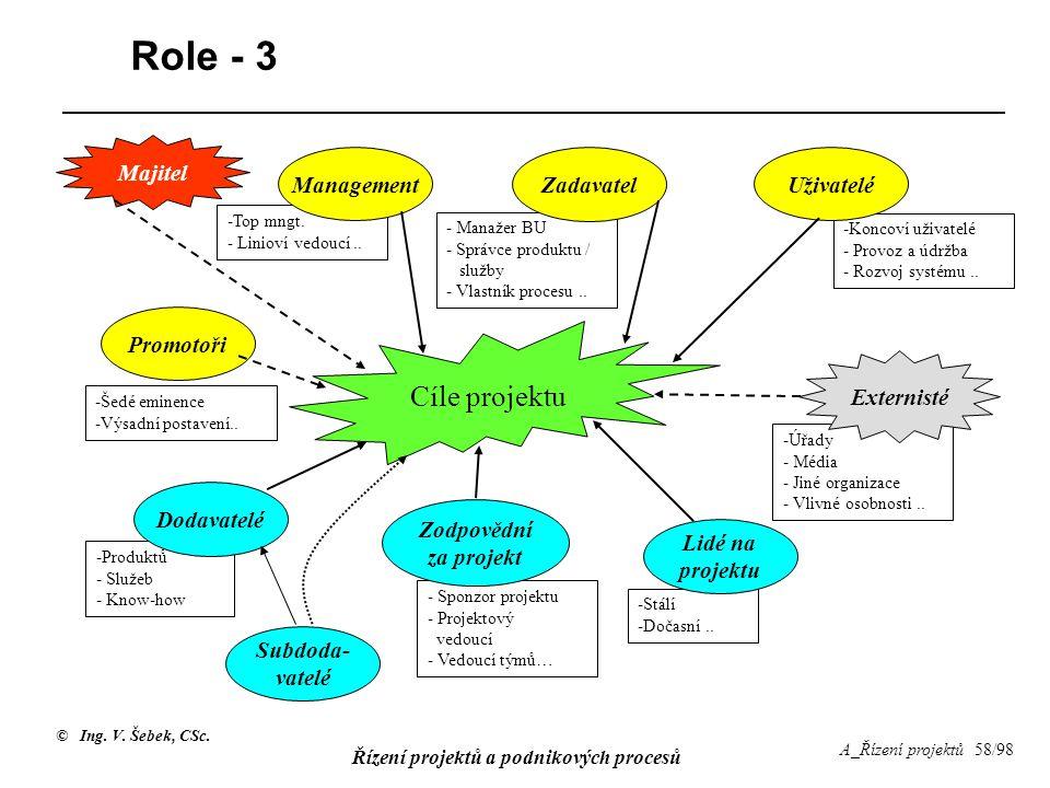 Role - 3 Cíle projektu Majitel Management Zadavatel Uživatelé