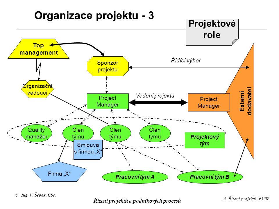 Organizace projektu - 3 Projektové role Top management