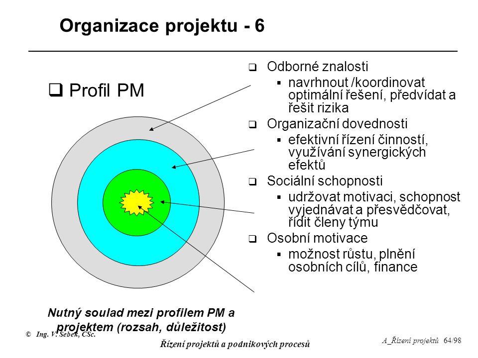 Nutný soulad mezi profilem PM a projektem (rozsah, důležitost)