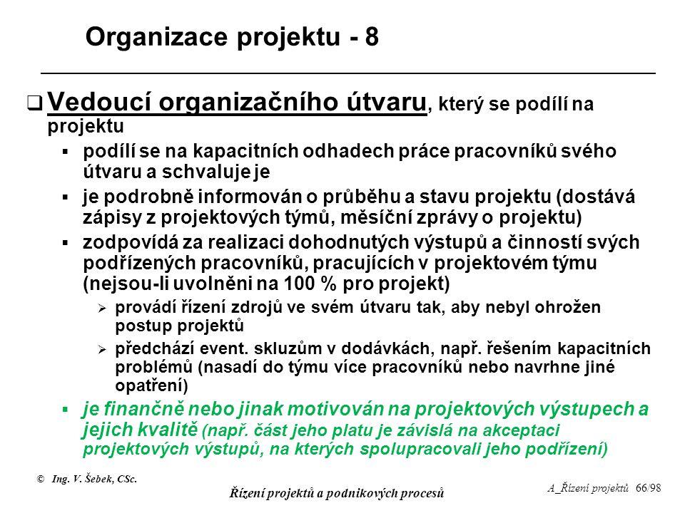 Vedoucí organizačního útvaru, který se podílí na projektu