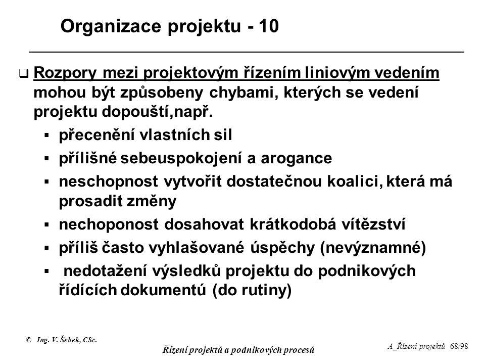 Organizace projektu - 10 Rozpory mezi projektovým řízením liniovým vedením mohou být způsobeny chybami, kterých se vedení projektu dopouští,např.