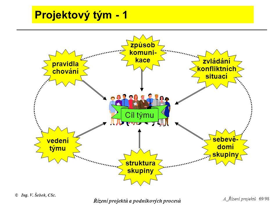 Projektový tým - 1 Cíl týmu způsob komuni- kace zvládání pravidla
