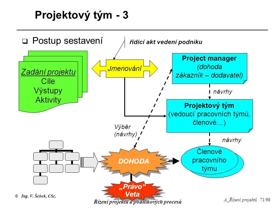 Projektový tým - 3 Postup sestavení Zadání projektu Cíle Výstupy