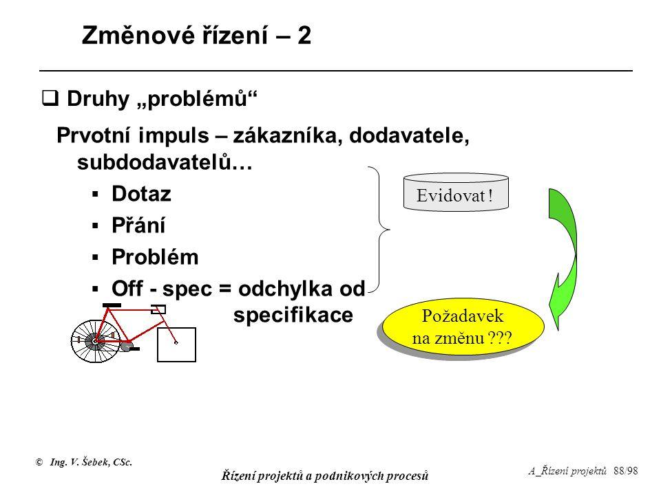 """Změnové řízení – 2 Druhy """"problémů"""