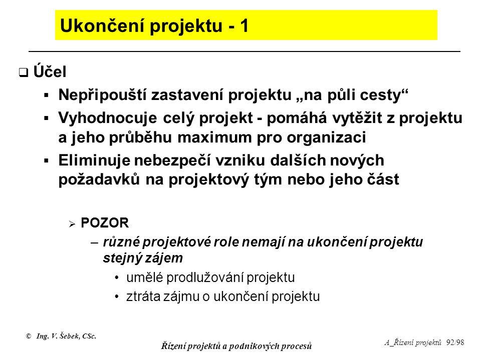 Ukončení projektu - 1 Účel