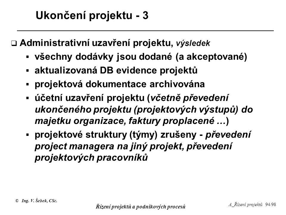 Ukončení projektu - 3 Administrativní uzavření projektu, výsledek