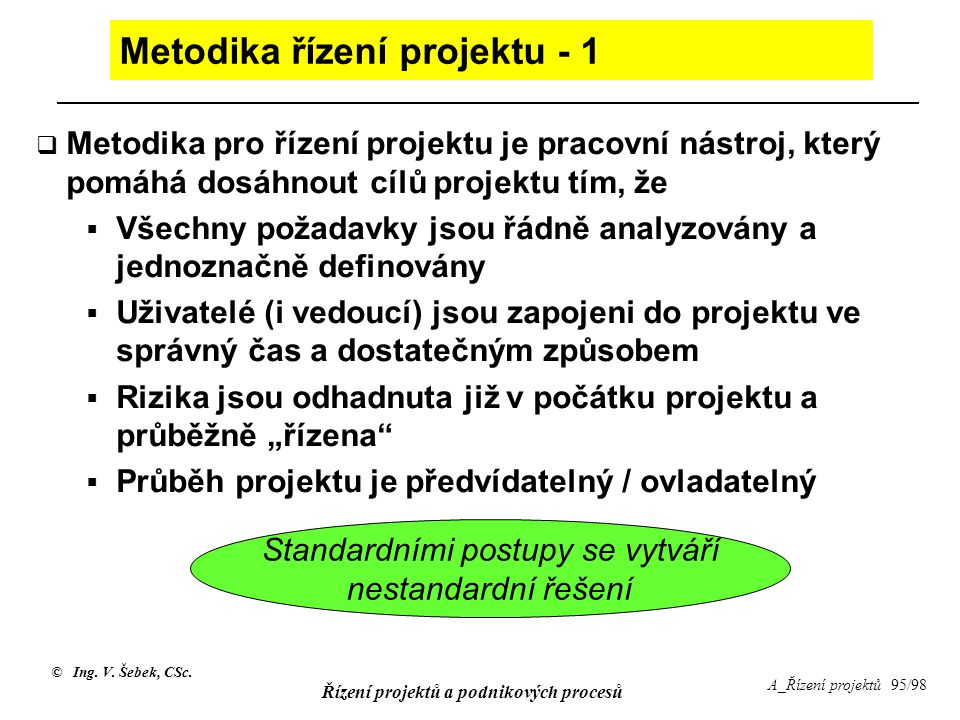 Metodika řízení projektu - 1