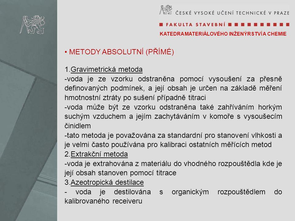 METODY ABSOLUTNÍ (PŘÍMÉ) Gravimetrická metoda