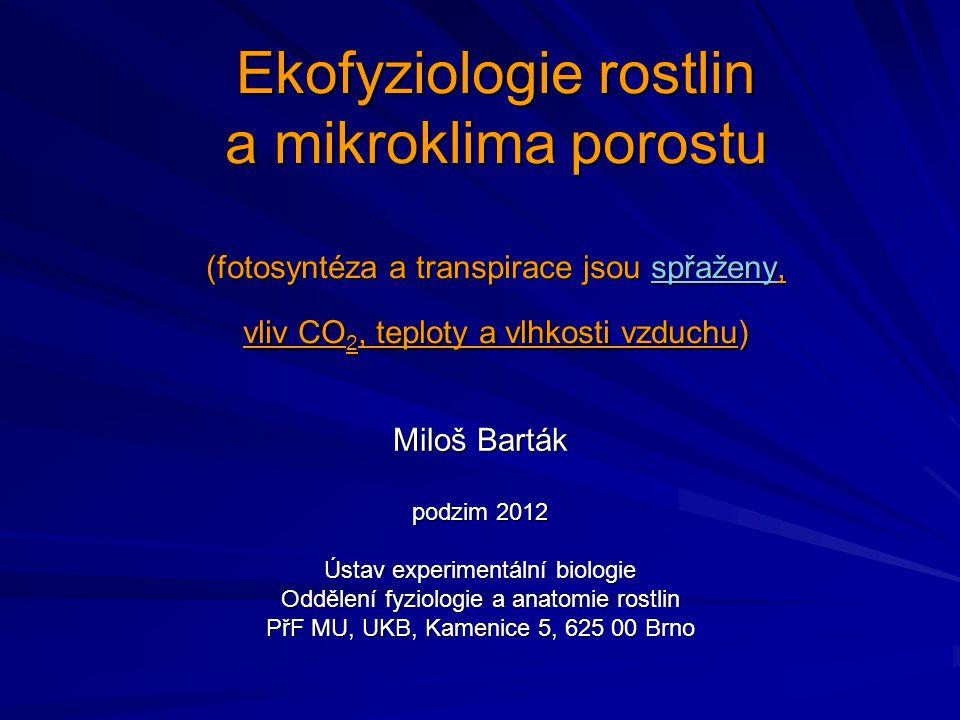 Ekofyziologie rostlin a mikroklima porostu (fotosyntéza a transpirace jsou spřaženy, vliv CO2, teploty a vlhkosti vzduchu)