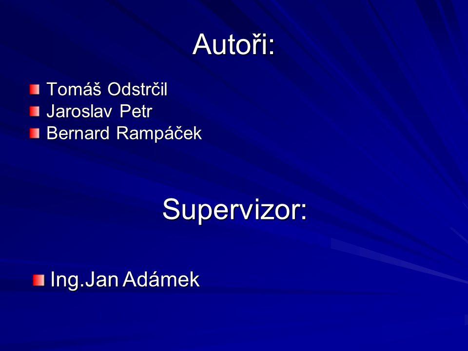 Autoři: Supervizor: Ing.Jan Adámek Tomáš Odstrčil Jaroslav Petr