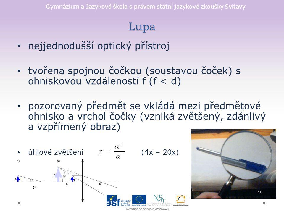 Lupa nejjednodušší optický přístroj
