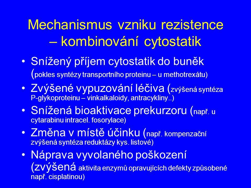 Mechanismus vzniku rezistence – kombinování cytostatik